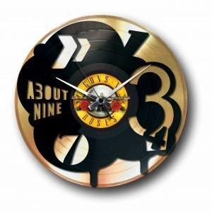 pop golden vinyl record wall clock