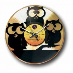 owls Golden vinyl record wall clock