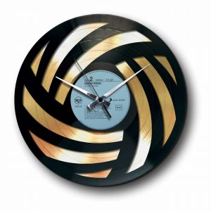 wool abstract Golden vinyl record wall clock