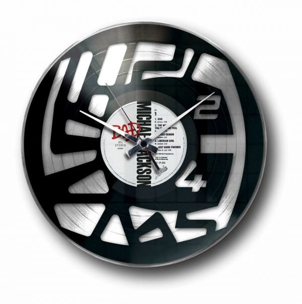 abstract numbers silver vinyl record wall clock