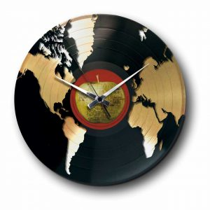 world Golden vinyl record wall clock