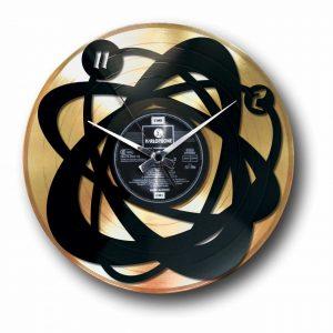 abstract golden vinyl record wall clock