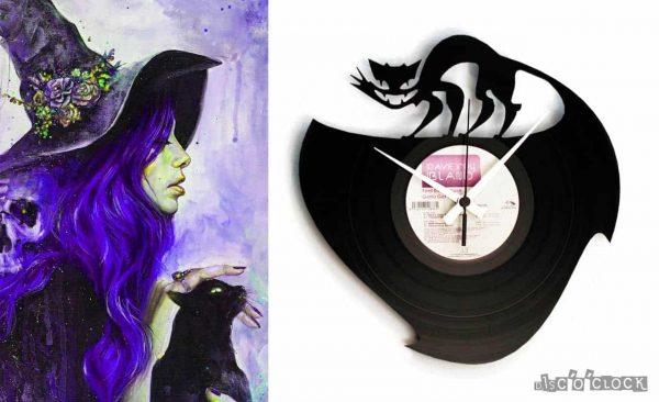 orologio da parete con disco in vinile astratto con gatto nero