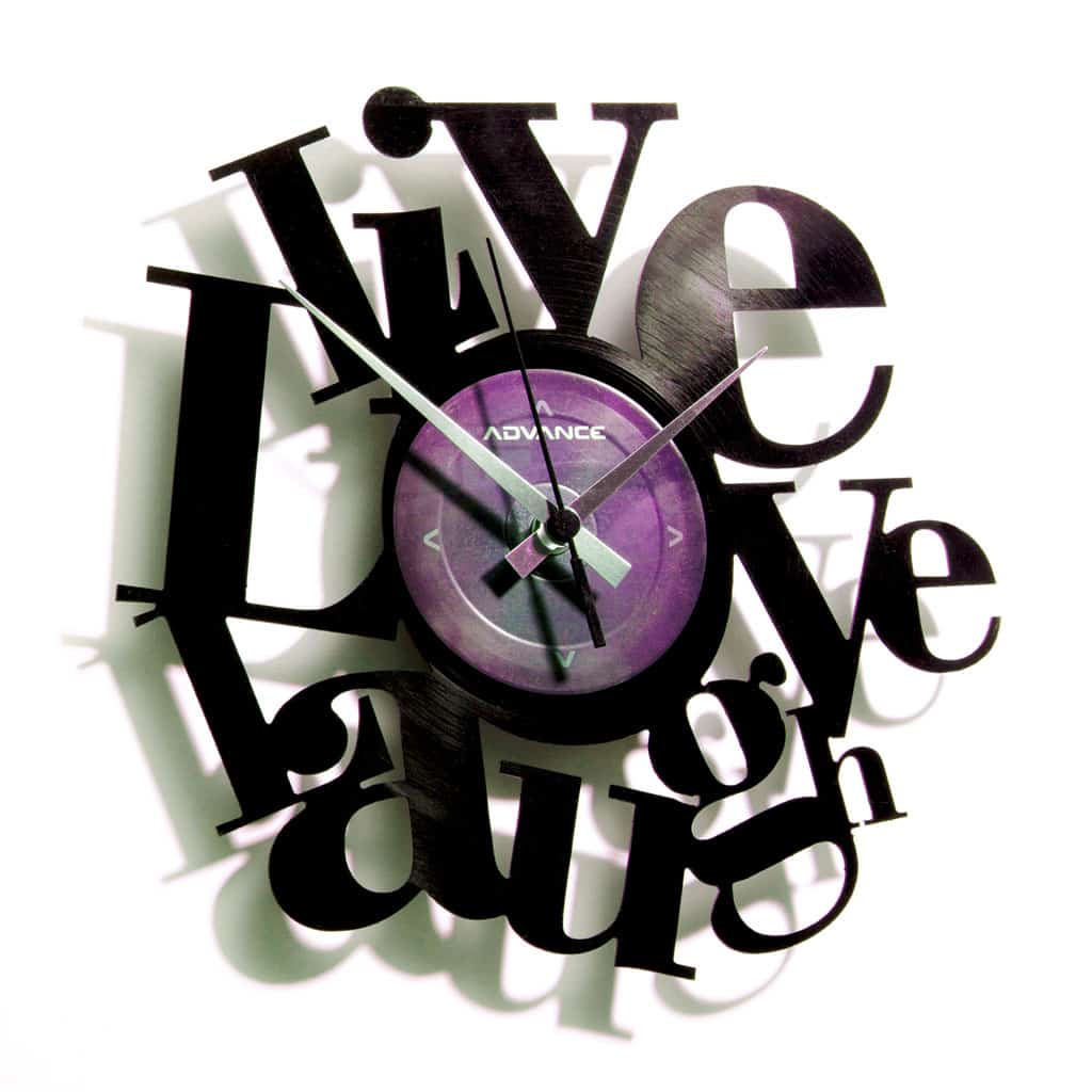 LIVE, LOVE, LAUGH orologio con disco in vinile