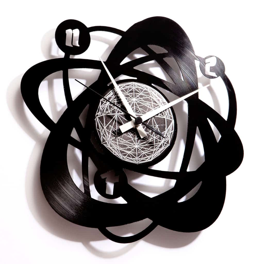 atom physics vinyl record clock