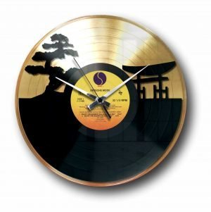 sunset Golden vinyl record wall clock
