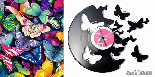 orologio da parete con disco in vinile con farfalle
