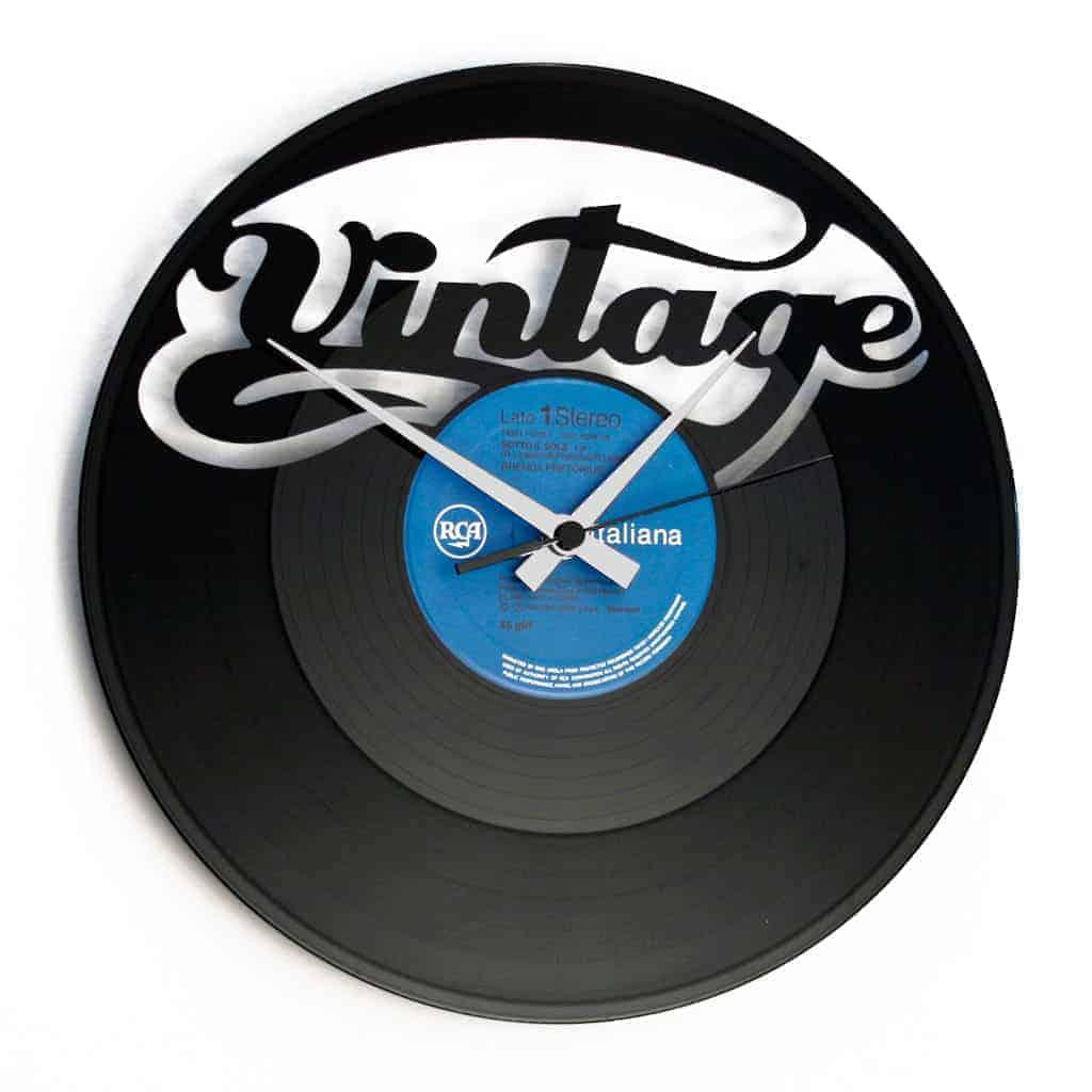 VINTAGE orologio con disco in vinile