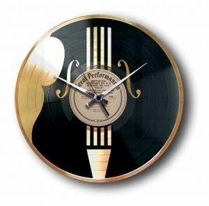 contrabass violin gold vinyl record clock