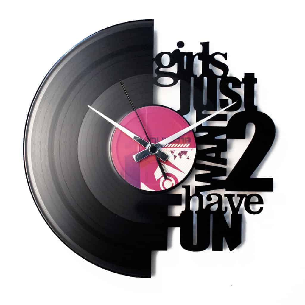 GIRLS JUST WANT 2 HAVE FUN orologio con disco in vinile