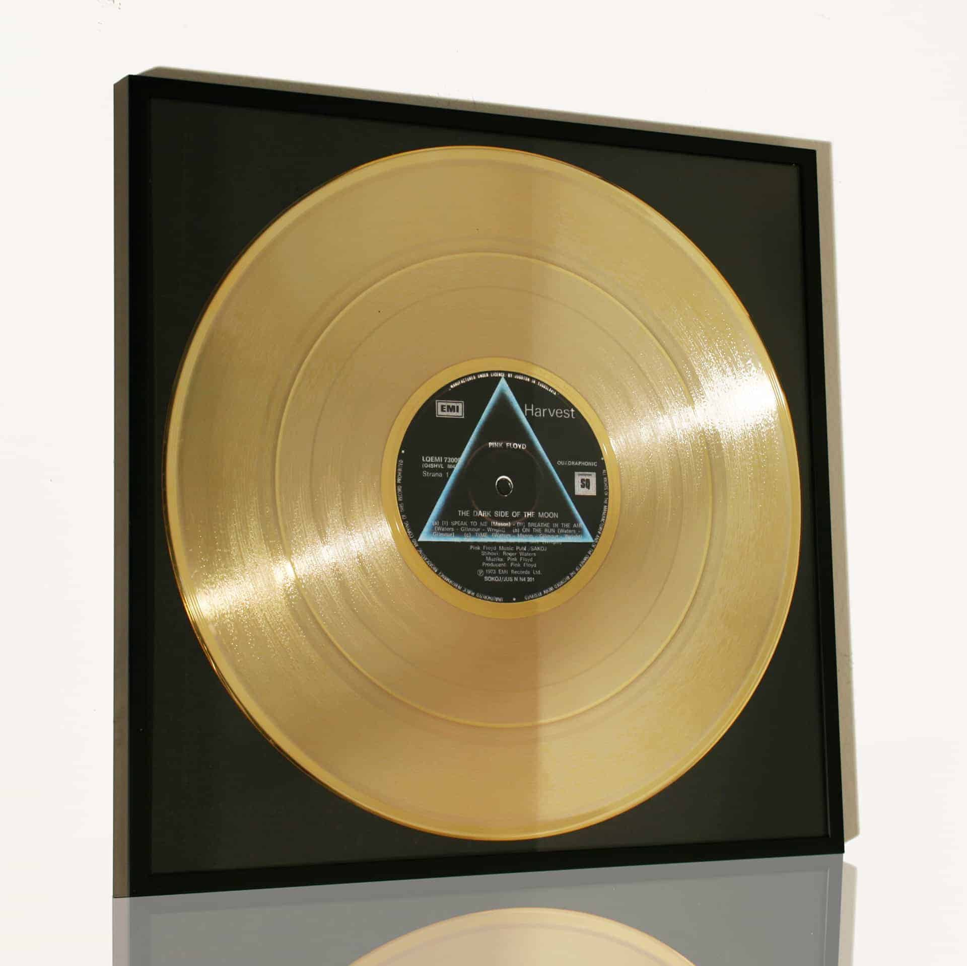 PINK FLOYD – THE DARK SIDE OF THE MOON: DISCO D'ORO DA COLLEZIONE INCORNICIATO
