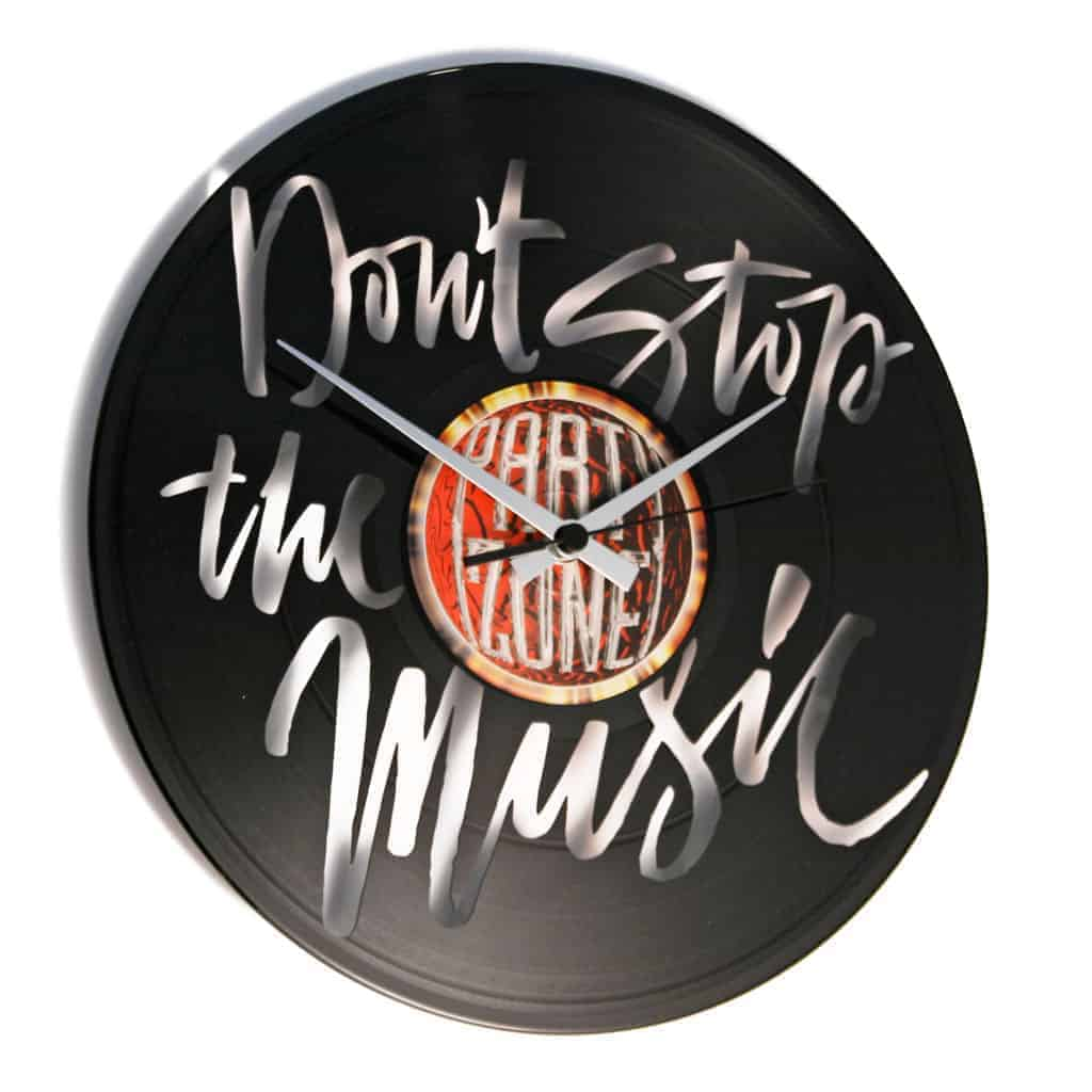 DON'T STOP THE MUSIC vinyl record clock