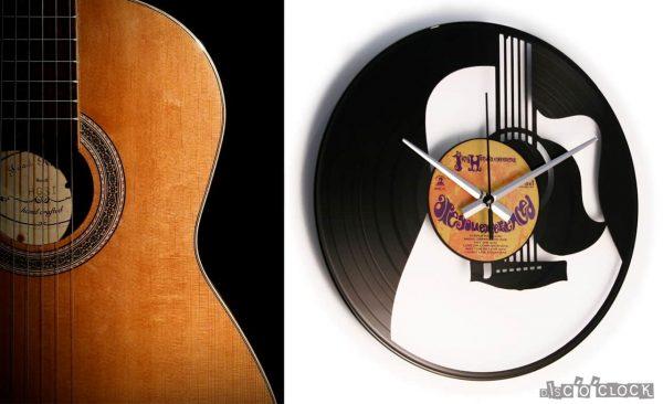 THE GUITAR orologio con disco in vinile