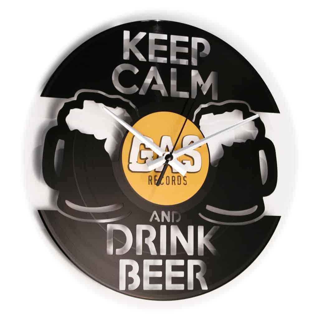 DRINK BEER orologio con disco in vinile