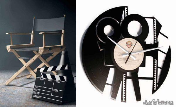 Orologio da parete con disco in vinile con cinepresa