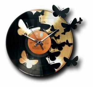 butterflies gold vinyl record clock