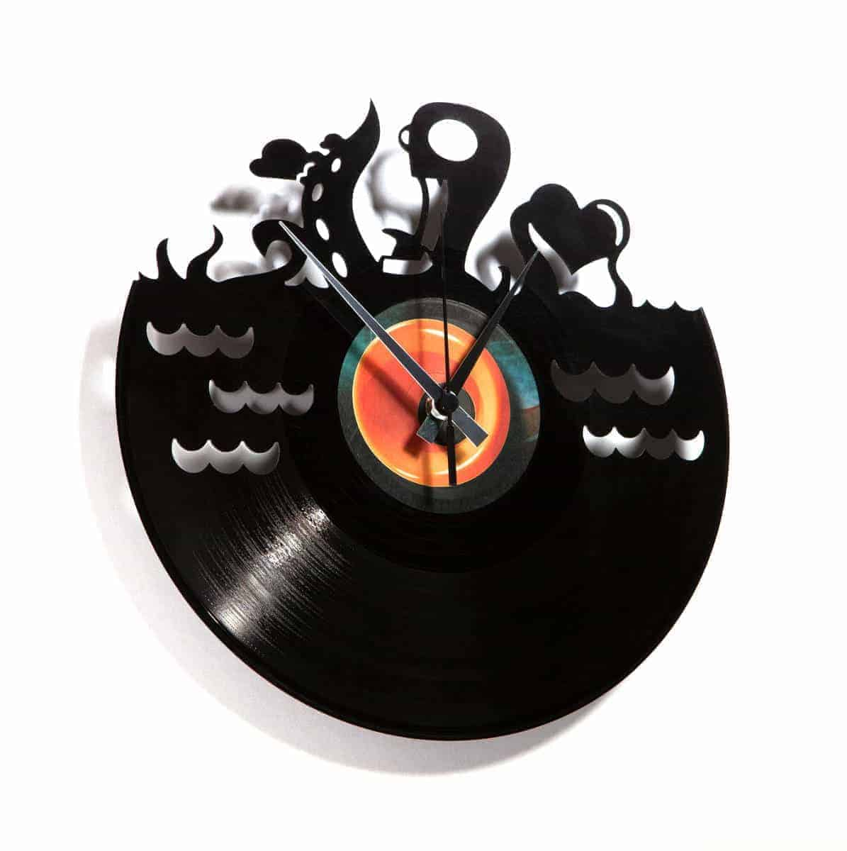 octopuss vinyl record clock