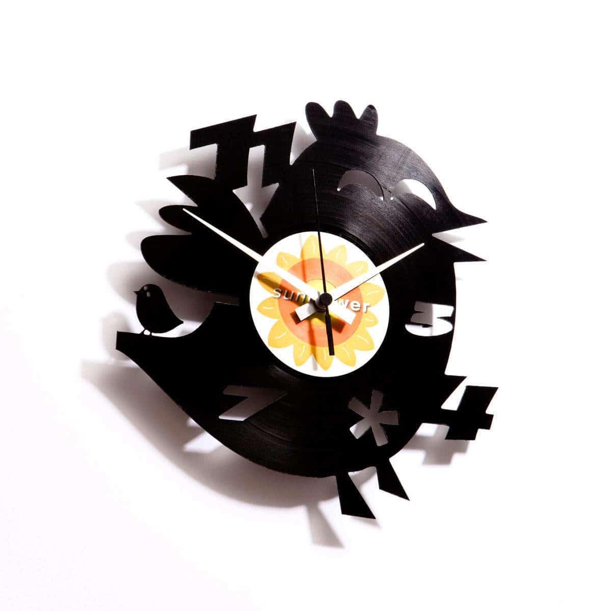 bird vinyl record clock