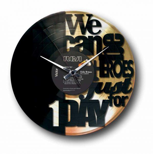 heroes bowie orologio in vinile con disco dorato