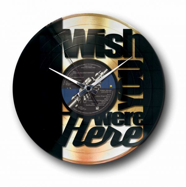 wish you were here pink Floyd golden vinyl record wall clock