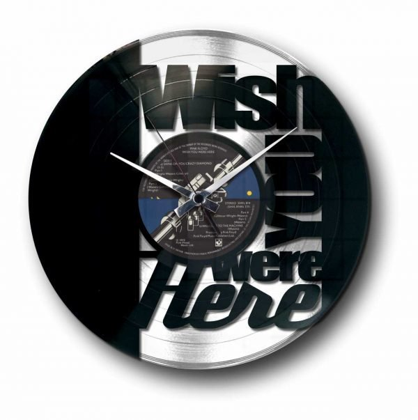 wish you were here pink Floyd silver vinyl record wall clock