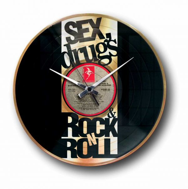 sex drugs and rock and roll golden vinyl record wall clock