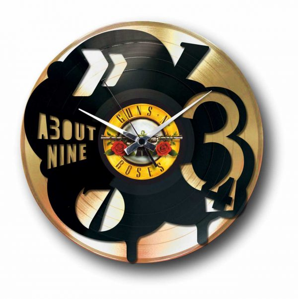 pop golden vinyl record wall clock