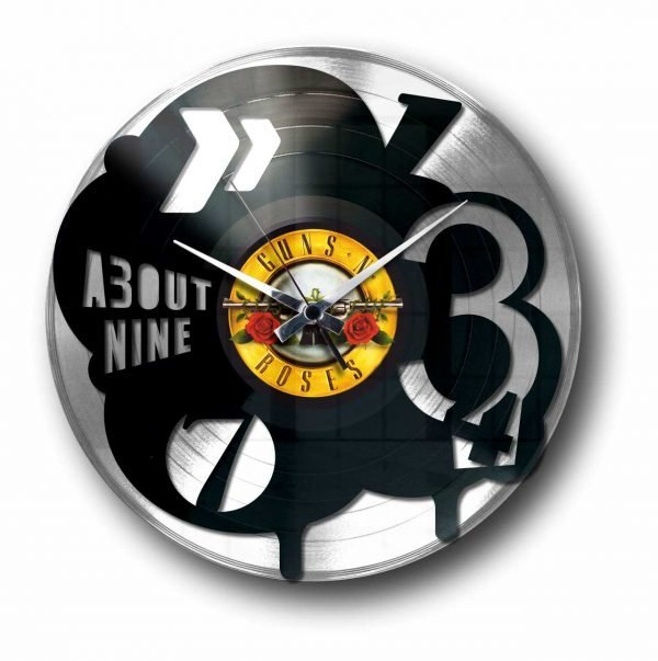pop silver vinyl record wall clock