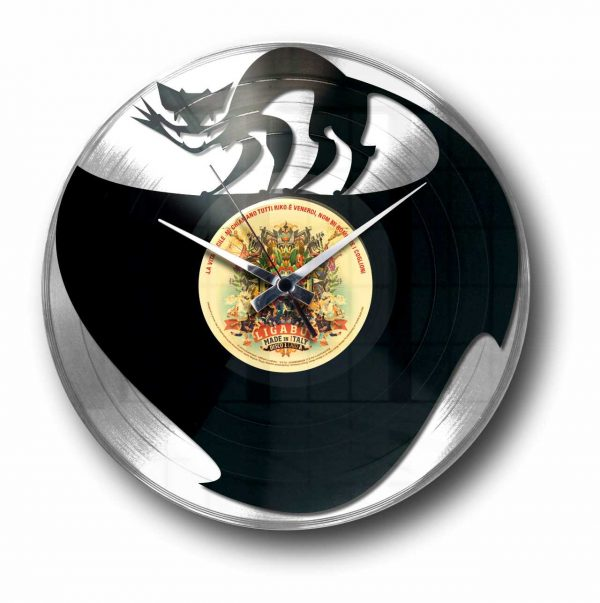 cat silver vinyl record wall clock