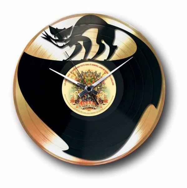 cat Golden vinyl record wall clock
