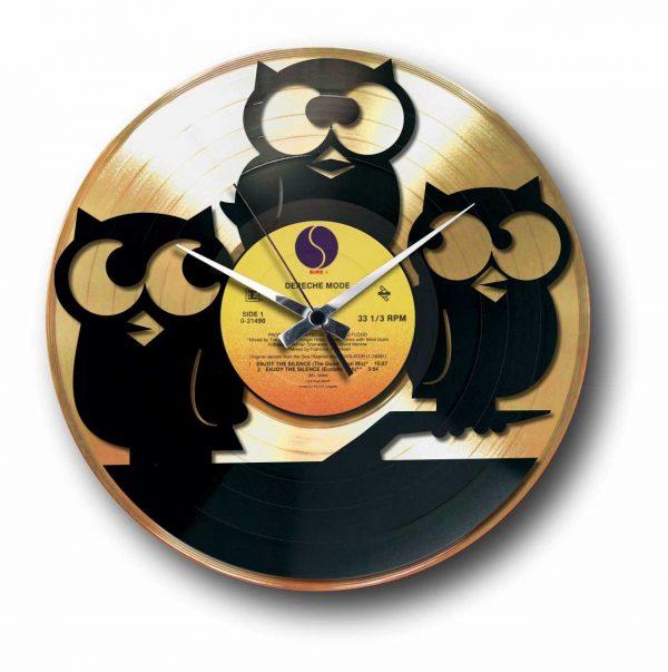 owls Golden vinyl record wall clock