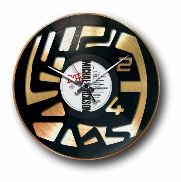 abstract numbers golden vinyl record wall clock