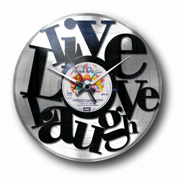 abstract love silver vinyl record wall clock