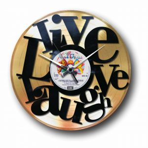 abstract love golden vinyl record wall clock