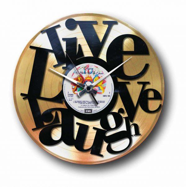 abstract love golden vinyl record wall clock