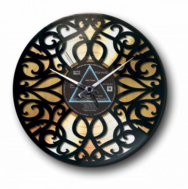 deco golden vinyl record wall clock