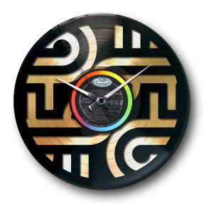 abstract golden vinyl record wall clock