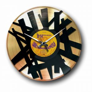 abstract silver vinyl record wall clock