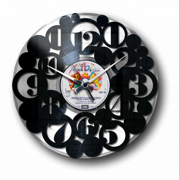 numbers silver vinyl record wall clock