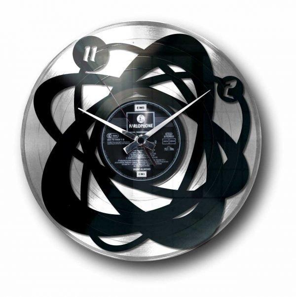 abstract silver vinyl record wall clock