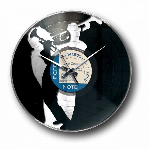 jazz silver vinyl record wall clock
