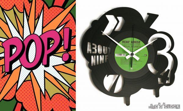 orologio da parete con disco in vinile in stile pop art