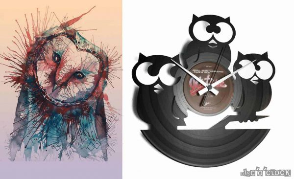 orologio da parete con disco in vinile astratto con gufi