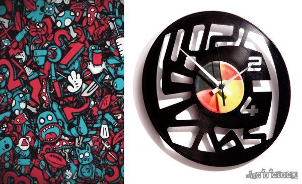 orologio da parete con disco in vinile astratto con numeri