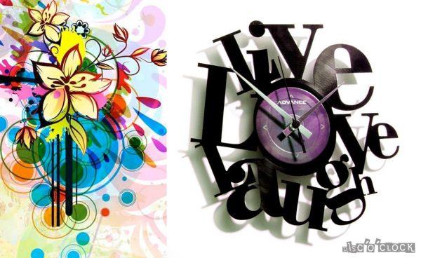 orologio da parete con disco in vinile con scritta live love laugh