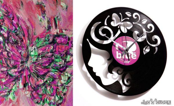 orologio da parete con disco in vinile con ragazza