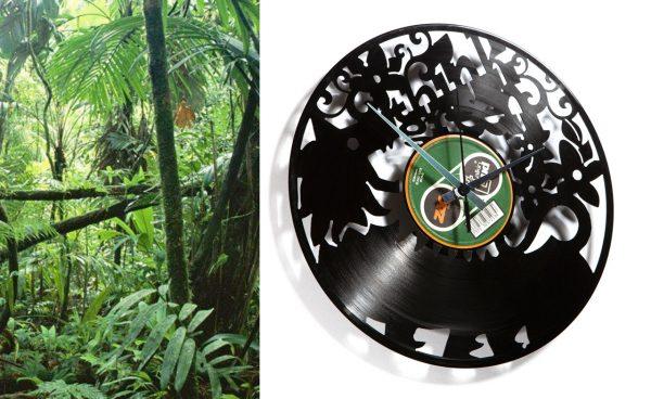 orologio da parete con disco in vinile a tema ecologico