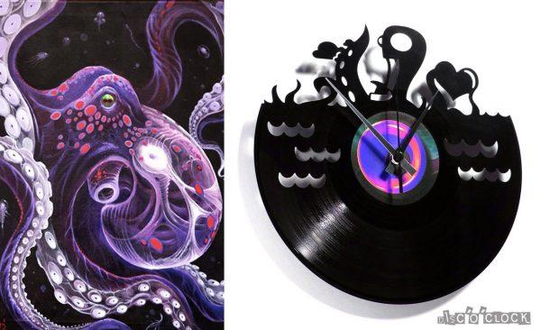 orologio da parete con disco in vinile con polipo innamorato