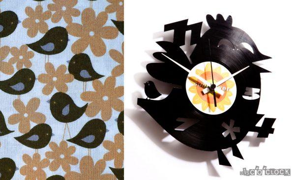 orologio da parete con disco in vinile con uccellino