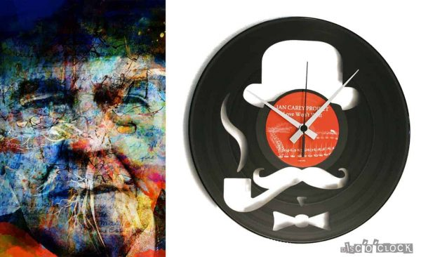 orologio da parete con disco in vinile con disegno hipster